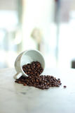 Coffee beans falling from a white cup. A handful of roasted coffee beans falling out on to a white marble table Royalty Free Stock Photography