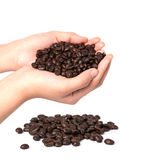 Coffee beans on female hand isolated on white background Royalty Free Stock Photo
