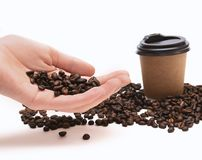 Coffee beans in female hand on white background.  stock photography