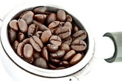 Coffee beans in filter holder Stock Photography