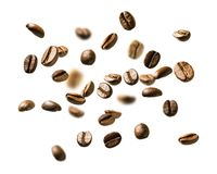 Coffee beans in flight on white background.  stock photography