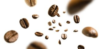 Coffee beans in flight on white background royalty free stock image