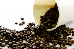 Coffee beans flow from white paper cup on white background Royalty Free Stock Image