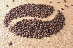 Coffee beans in the form of bean Stock Image