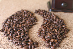 Coffee beans in the form of bean Royalty Free Stock Photos