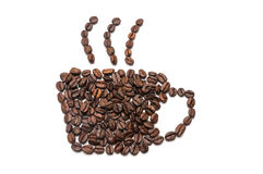 Coffee beans in the form of coffee cup and steam.  Stock Image