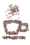 Coffee beans in the form of coffee cup and steam. Stock Images