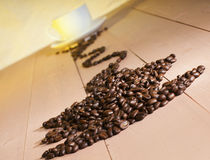 Coffee beans in the form of cups Royalty Free Stock Photo