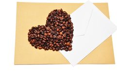 Coffee beans in the form of heart Stock Images