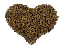 Coffee Beans in a Form of a Heart Royalty Free Stock Images
