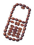 Coffee beans in the form of a mobile phone Royalty Free Stock Image