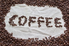 Coffee beans formed to word coffee Stock Image