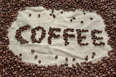 Coffee beans formed to word coffee Stock Images