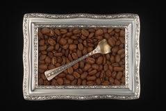 Coffee beans and a frame royalty free stock image