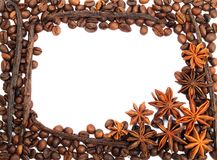 Coffee beans frame. Frame from coffee beans , anise and vanilla on  a white background Royalty Free Stock Images