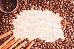 Coffee beans frame Stock Images