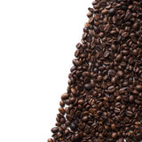 Coffee beans frame. With copy space, isolated on white background. Top view Stock Photo