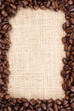 Coffee beans frame and sizal Royalty Free Stock Photography