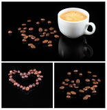 Coffee beans and fresh coffee in white cup isolated on black background Royalty Free Stock Photography