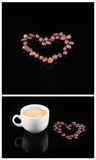 Coffee beans and fresh coffee in white cup isolated on black background Stock Image
