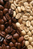 Coffee beans Green and Roasted Stock Images