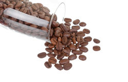 Coffee beans in a glass. On white Stock Images