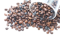 Coffee beans with a glass Stock Photo