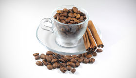 Coffee beans in a glass cup. Background Royalty Free Stock Photos
