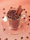 Coffee beans in a glass cup with cinnamon Stock Image