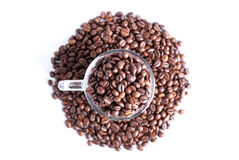 Coffee beans in a glass cup isolated on white background Stock Images