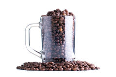 Coffee beans in a glass cup isolated on white background Royalty Free Stock Images