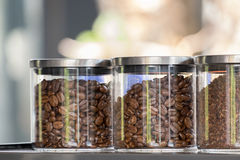 Coffee beans in glass jar Royalty Free Stock Photos
