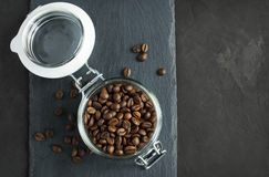 Coffee beans in a glass jar Stock Image