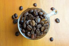Coffee beans in the glass Stock Image