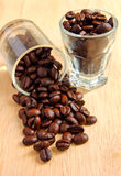 Coffee beans in glasses Stock Image