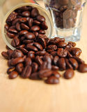 Coffee beans in glasses Royalty Free Stock Image