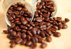 Coffee beans in glasses Royalty Free Stock Photography