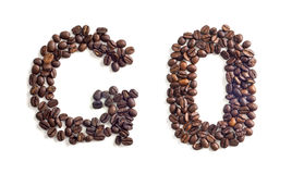 Coffee beans. Go word made of coffee beans royalty free stock images