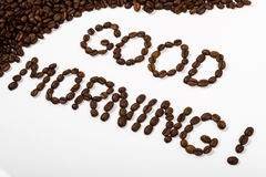 Coffee beans and good morning text written with beans Stock Photography