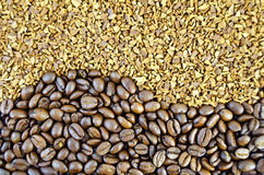 Coffee beans and a granular texture Royalty Free Stock Photo