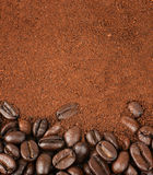 Coffee Beans and Granulated Instant Coffee. Roasted Coffee Beans and Granulated Instant Coffee Stock Images