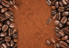 Coffee Beans and Granulated Instant Coffee Stock Images