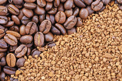 Coffee beans and granules Stock Photos