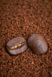 Coffee beans and granules background Stock Photography