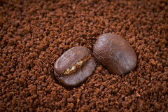 Coffee beans and granules background Stock Photos