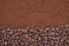 Coffee beans and granules background Royalty Free Stock Image