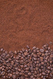 Coffee beans and granules background Stock Photo