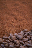 Coffee beans and granules background Royalty Free Stock Images