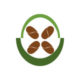 Coffee beans in a green circle. Vector illustration Royalty Free Illustration