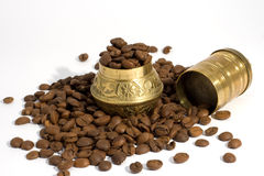 Coffee beans with Grinder. Coffee beans with a traditional coffee grinder isolated on white Stock Images